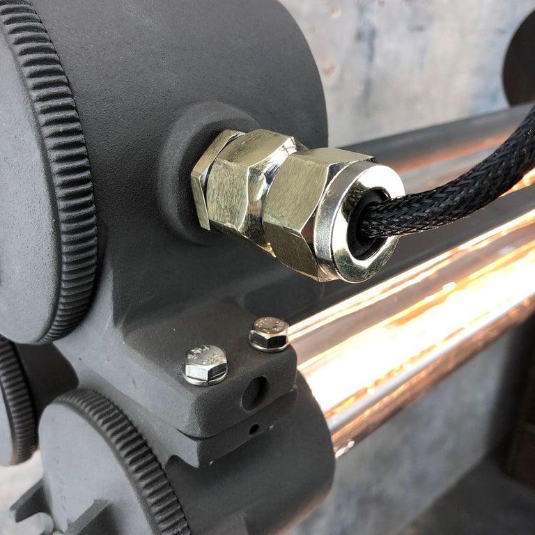 Aluminum 1970s Vintage Industrial Black Flameproof Edison Twin Striplight by Daeyang For Sale
