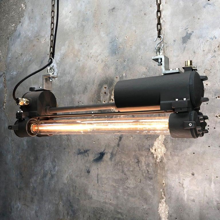 1970s Vintage Industrial Black Flameproof Edison Twin Striplight by Daeyang For Sale 1
