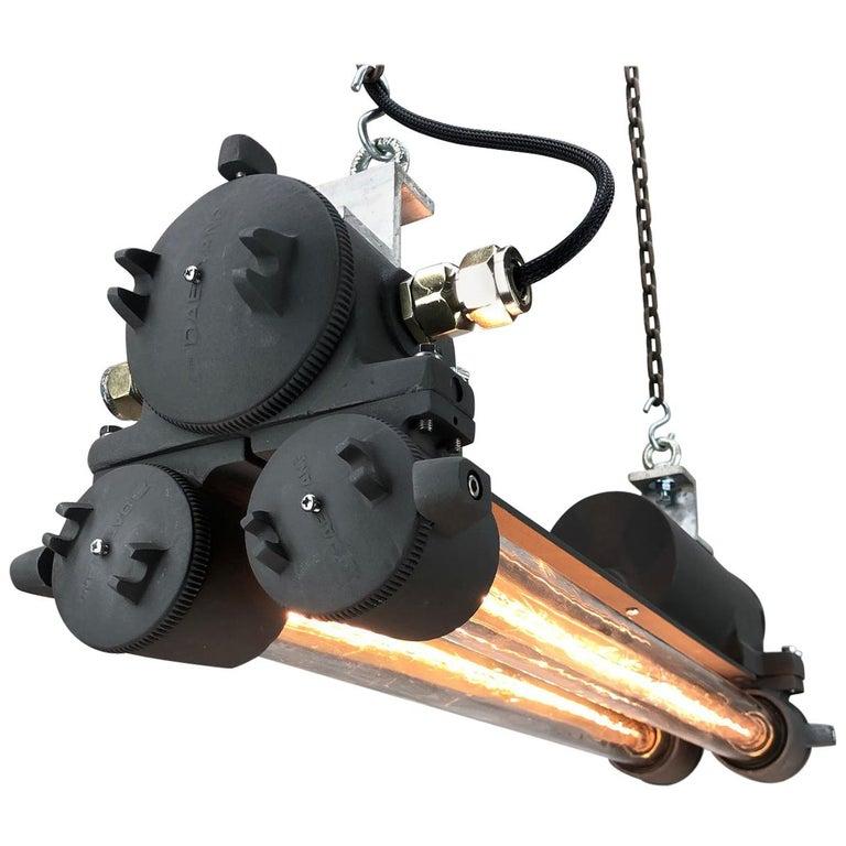 1970s Vintage Industrial Black Flameproof Edison Twin Striplight by Daeyang For Sale