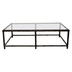 1970s Vintage Iron Tree Branch Effect Coffee Table