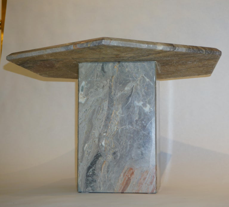 Hand-Crafted Vintage Italian 3 Geometric White Gray and Red Vein Marble Nesting Tables 1970s  For Sale