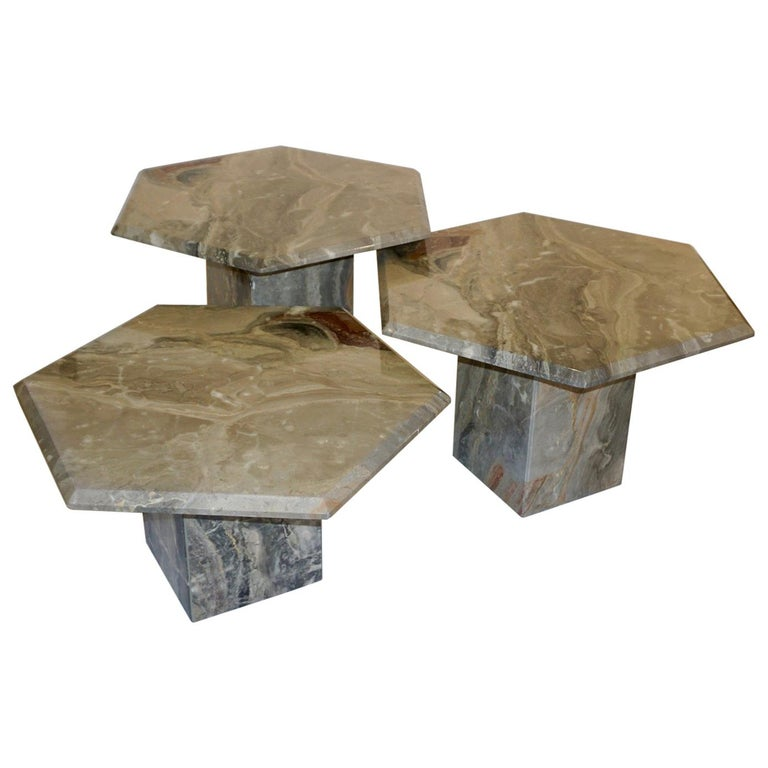 Vintage Italian 3 Geometric White Gray and Red Vein Marble Nesting Tables 1970s  For Sale