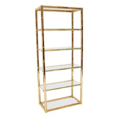 1970s Vintage Italian Brass and Glass Cabinet / Bookcase