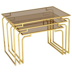 1970s Vintage Italian Brass and Glass Nest of 3 Tables