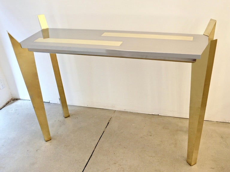 1970s Vintage Italian Brass and Nickel Console of Modern Graphic Design In Excellent Condition For Sale In New York, NY