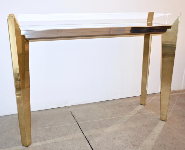 Late 20th Century 1970s Vintage Italian Brass and Nickel Console of Modern Graphic Design For Sale