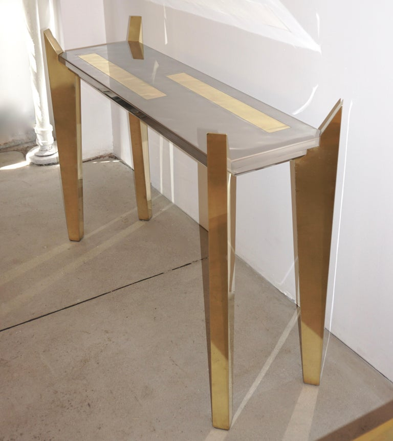 Wood 1970s Vintage Italian Brass and Nickel Console of Modern Graphic Design For Sale