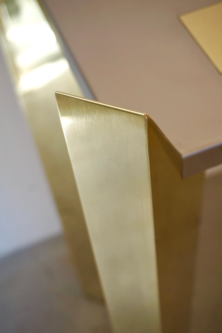 1970s Vintage Italian Brass and Nickel Console of Modern Graphic Design For Sale 1