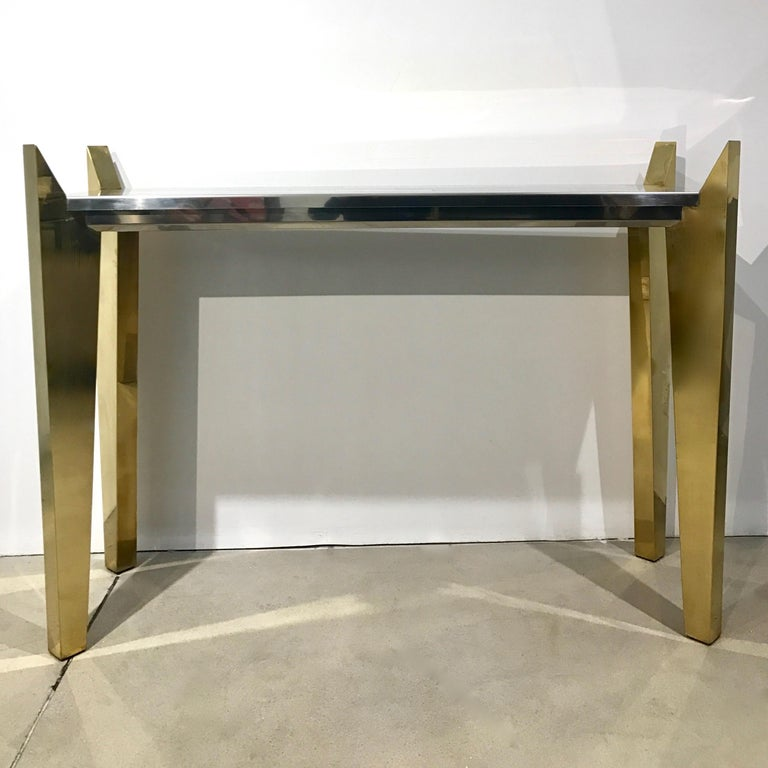 1970s Vintage Italian Brass and Nickel Console of Modern Graphic Design For Sale 2