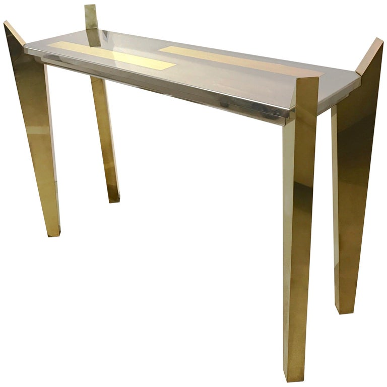 1970s Vintage Italian Brass and Nickel Console of Modern Graphic Design For Sale