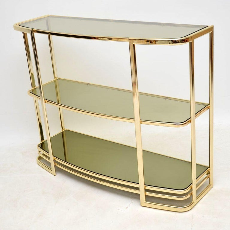 1970s Vintage Italian Brass Console Table Or Bookcase For