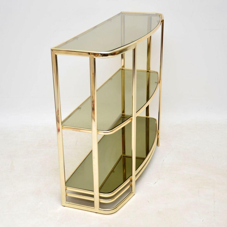 1970s Vintage Italian Brass Console Table or Bookcase In Good Condition For Sale In London, GB