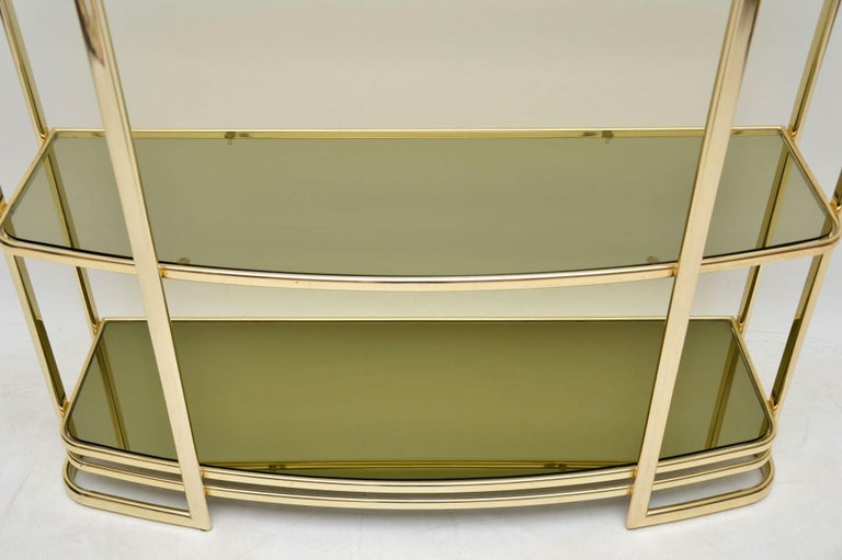 Late 20th Century 1970s Vintage Italian Brass Console Table or Bookcase For Sale