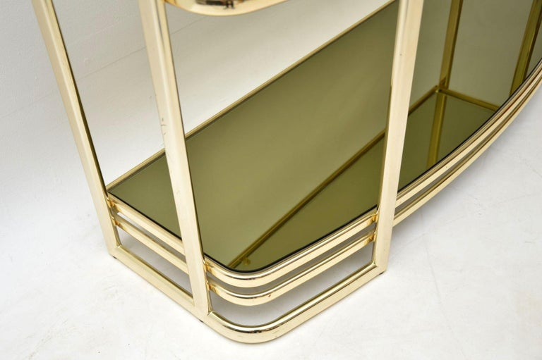1970s Vintage Italian Brass Console Table or Bookcase For Sale 2