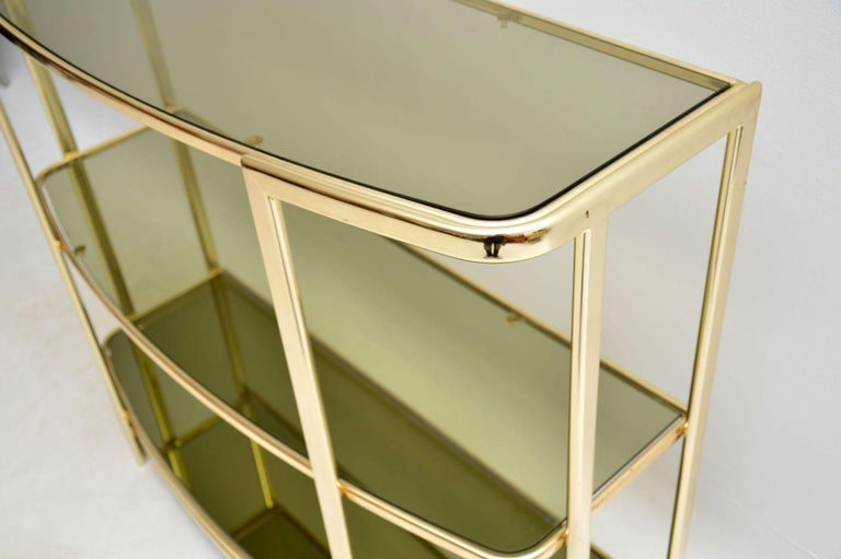 1970s Vintage Italian Brass Console Table or Bookcase For Sale 3