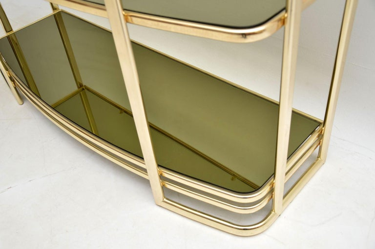 1970s Vintage Italian Brass Console Table or Bookcase For Sale 4
