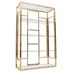 1970s Vintage Italian Brass Display Cabinet