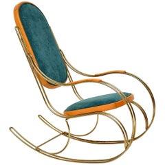 1970s Vintage Italian Brass Rocking Chair