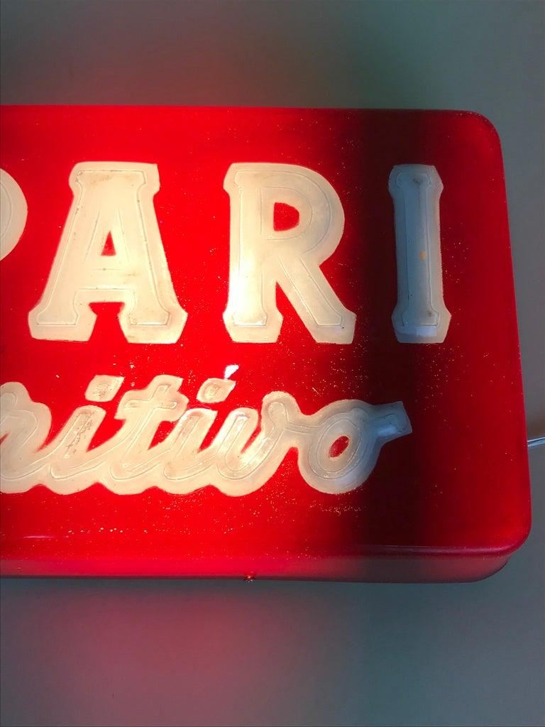 Late 20th Century 1970s Vintage Italian Campari L'aperitivo Campari the Aperitif Illuminated Sign For Sale