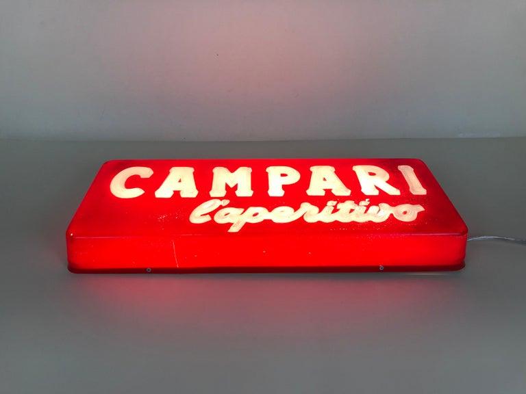 1970s Vintage Italian Campari L'aperitivo Campari the Aperitif Illuminated Sign For Sale 3