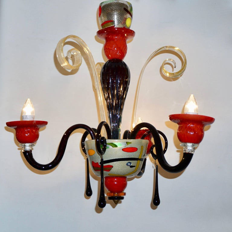 Red Murano Chandelier: 1970s Vintage Italian Design Black Red Gold Modern Murano