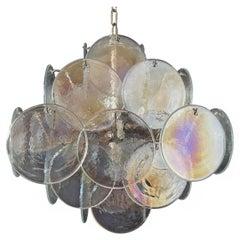 1970's Vintage Italian Murano chandelier - 36 iridescent disks