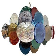 1970s Vintage Italian Murano Chandelier, 36 Multicolored Disks