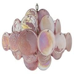 1970's Vintage Italian Murano chandelier - 36 pink disks