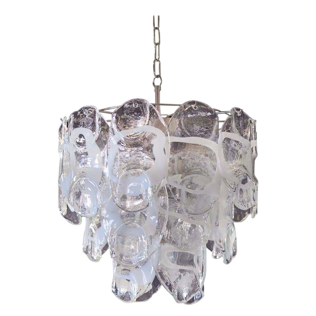 1970s Vintage Italian Murano Chandelier Lamp in Vistosi Style 23 Glasses