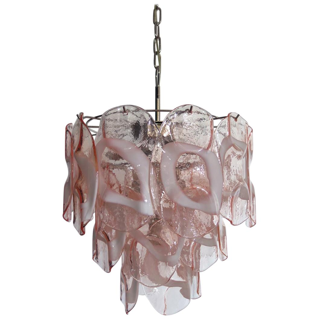 1970s Vintage Italian Murano Chandelier Lamp in Vistosi Style 23 Pink Glasses