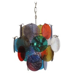 1970s Vintage Italian Murano Chandelier Lamp in Vistosi Style, 24 Disks