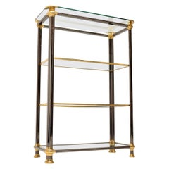 1970s Vintage Italian Steel and Brass Bookcase / Cabinet