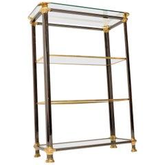 1970s Vintage Italian Steel & Brass Bookcase / Cabinet