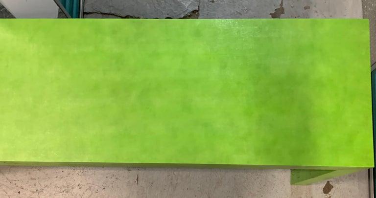 American 1970s Vintage Karl Springer Apple Green Snakeskin Extended Console Table   For Sale