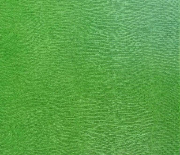 Modern 1970s Vintage Karl Springer Apple Green Snakeskin Extended Console Table   For Sale