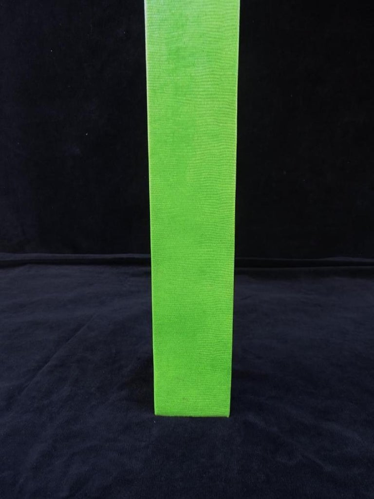 20th Century 1970s Vintage Karl Springer Apple Green Snakeskin Extended Console Table   For Sale