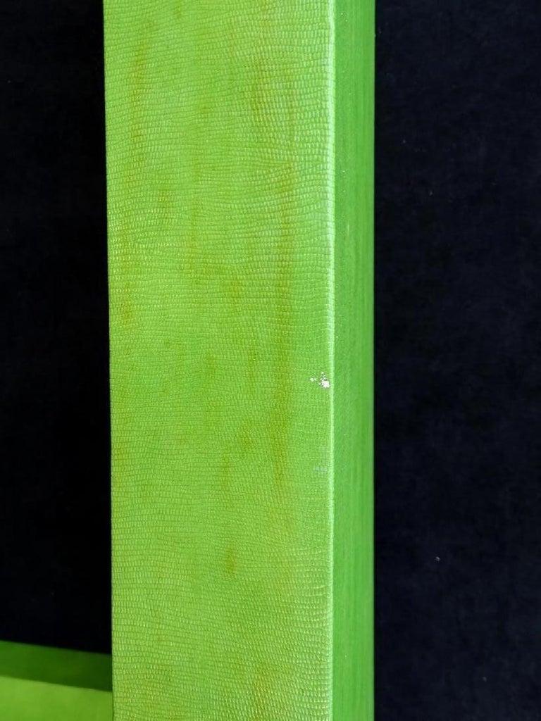 Leather 1970s Vintage Karl Springer Apple Green Snakeskin Extended Console Table   For Sale