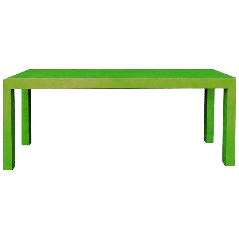 1970s Vintage Karl Springer Apple Green Snakeskin Extended Console Table   For Sale