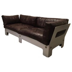 1970s Vintage Leather and Anodised Aluminum Sofa
