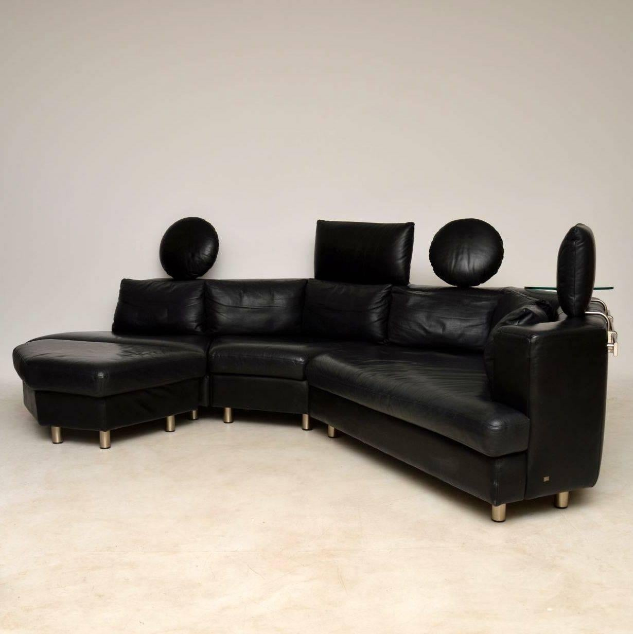 Mid Century Modern 1970s Vintage Leather Modular Sofa By Rolf Benz For Sale