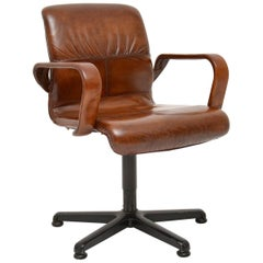 1970s Vintage Leather Swivel Desk Chair