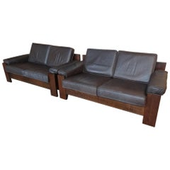 1970's Vintage Leolux Black or Dark Brown Leather Two Seater Retro Vintage Sofa