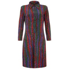 1970s Vintage Leonard for Nini Capucci Stained Glass Print Jersey Dress