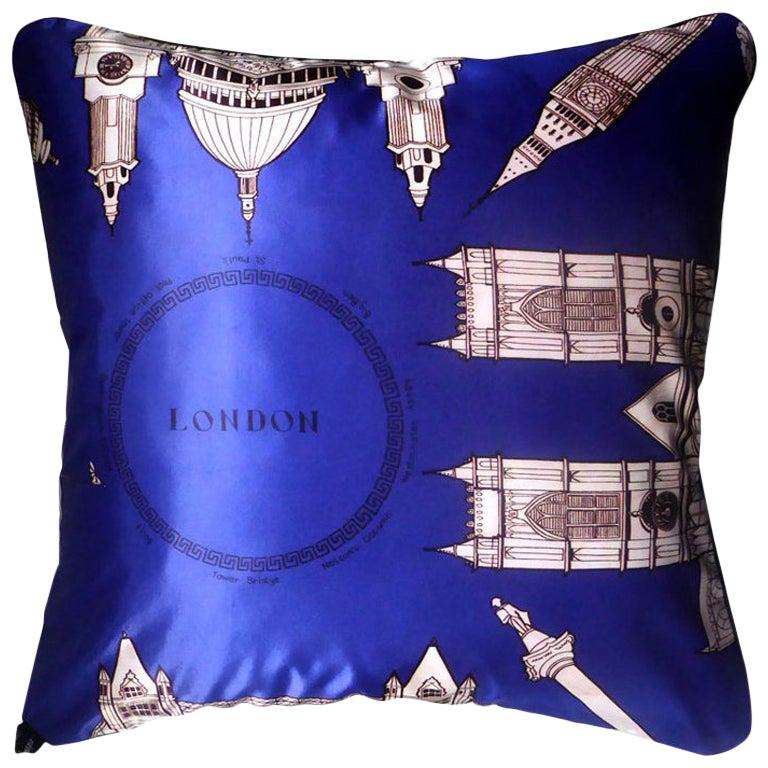 "1970s Vintage Luxury Silk Cushion ""London"" 'Dk Blue' Bespoke Pillow Cushion For Sale"