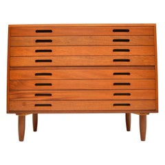 1970s Vintage Mahogany Architects Plan Chest of Drawers