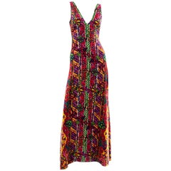 1970s Vintage Maxi Dress Bendels Studio Multi Colored Woven Paisley Print