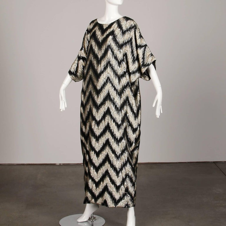 1970s Vintage Metallic Gold + Black Zig Zag Caftan Disco Maxi Dress or Gown In Excellent Condition For Sale In Sparks, NV