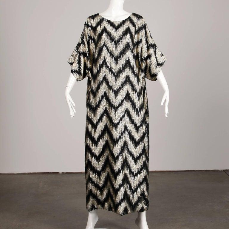 1970s Vintage Metallic Gold + Black Zig Zag Caftan Disco Maxi Dress or Gown For Sale 2