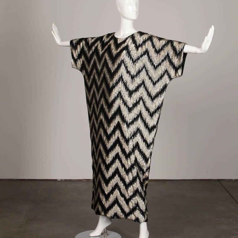 1970s Vintage Metallic Gold + Black Zig Zag Caftan Disco Maxi Dress or Gown For Sale 3