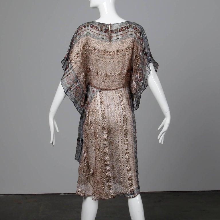 Women's 1970s Vintage Metallic Paper Thin Indian Print Silk Dress with Batwing Sleeves For Sale